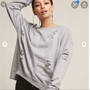 Forever 21 contemporary distressed lace up sweats
